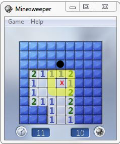 Minesweeper after clicking a square